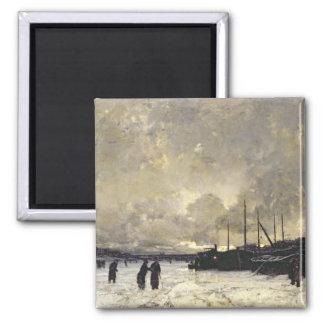 The Seine in December, 1879 Square Magnet