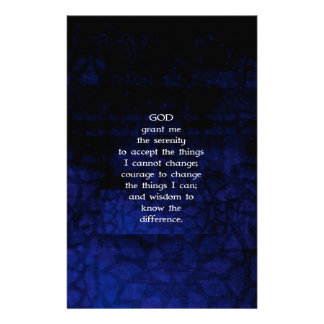 The Serenity Prayer With Blue Background Stationery