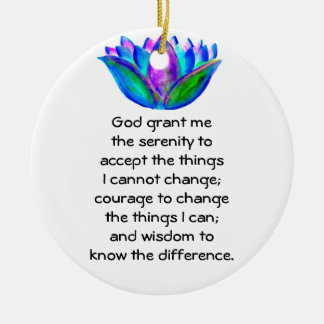 The Serenity Prayer with Colorful Lotus Blossom Christmas Ornament