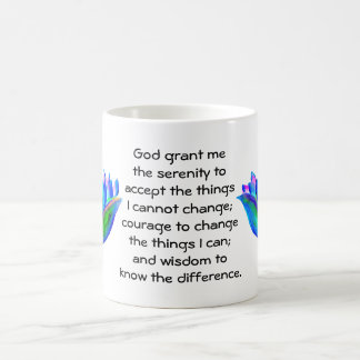 The Serenity Prayer with Colorful Lotus Blossom Coffee Mug