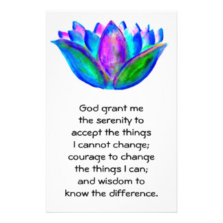 The Serenity Prayer with Colorful Lotus Blossom Customized Stationery
