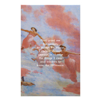 The Serenity Prayer With Flying Angels Painting Stationery Design