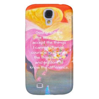 The Serenity Prayer with Folk Art Angel Painting Galaxy S4 Case
