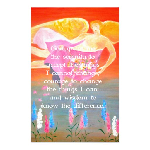 The Serenity Prayer with Folk Art Angel Painting Stationery Paper