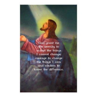 The Serenity Prayer With Jesus Christ Painting Stationery Design
