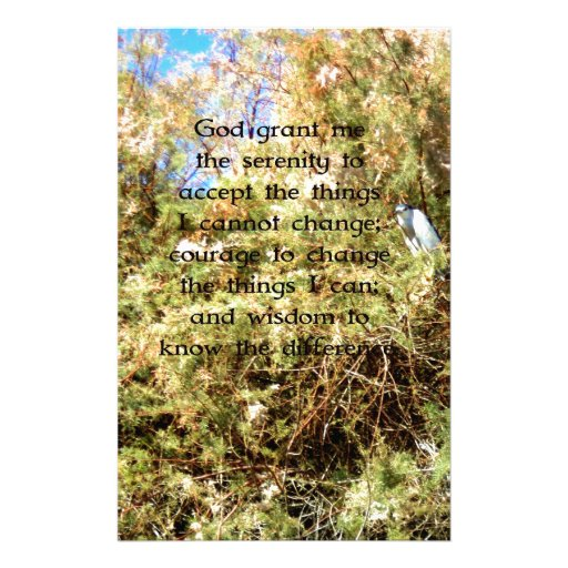 The Serenity Prayer with Nature Photo Bird Stationery Paper