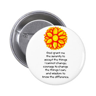 The Serenity Prayer with Red Yellow Lotus Blossom 6 Cm Round Badge