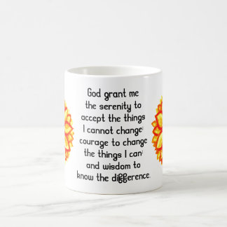 The Serenity Prayer with Red Yellow Lotus Blossom Coffee Mug