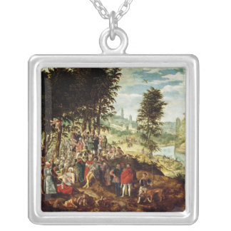 The Sermon of St. John the Baptist, c.1550 Silver Plated Necklace