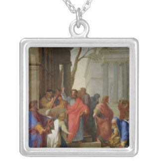The Sermon of St. Paul at Ephesus, 1649 Silver Plated Necklace