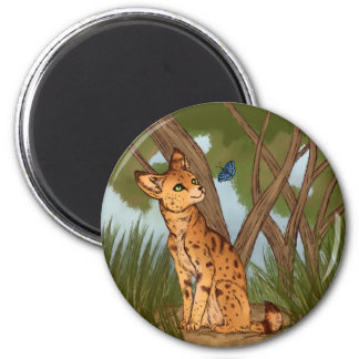 The Serval and the Butterfly 6 Cm Round Magnet