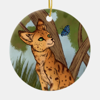 The Serval and the Butterfly Round Ceramic Decoration