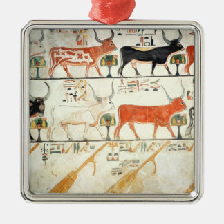The seven celestial cows and the sacred bull Silver-Colored square decoration