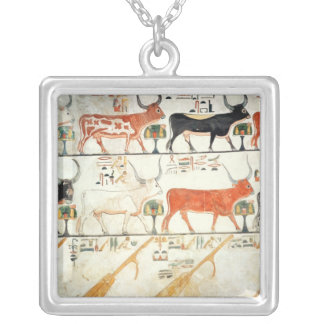 The seven celestial cows and the sacred bull silver plated necklace