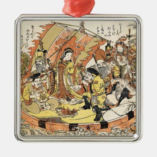 The Seven Gods Good Fortune in the Treasure Boat Ornament