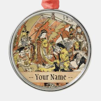 The Seven Gods Good Fortune in the Treasure Boat Silver-Colored Round Decoration