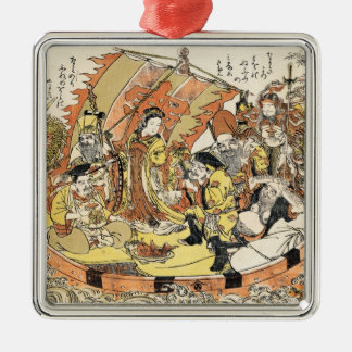 The Seven Gods Good Fortune in the Treasure Boat Silver-Colored Square Decoration
