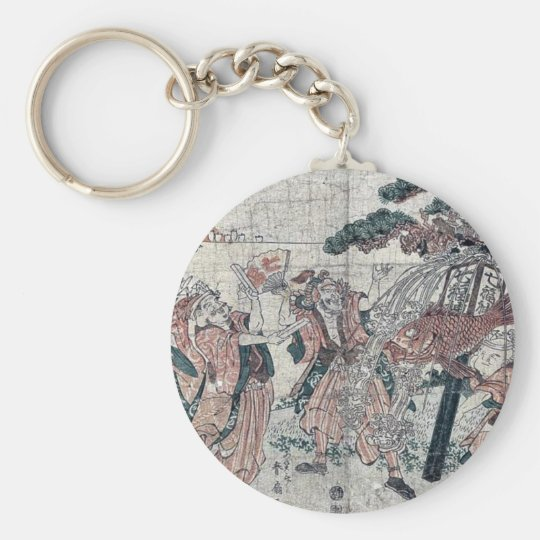 The seven gods of good luck by Katsukawa,Shunsen Basic Round Button Key Ring