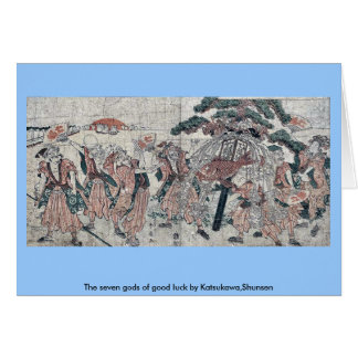 The seven gods of good luck by Katsukawa Shunsen Greeting Cards