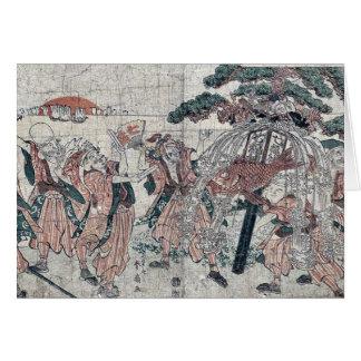 The seven gods of good luck by Katsukawa,Shunsen Greeting Card