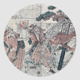 The seven gods of good luck by Katsukawa,Shunsen Classic Round Sticker