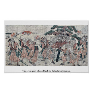 The seven gods of good luck by Katsukawa Shunsen Posters