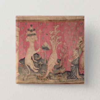 The seven-headed beast from the sea 15 cm square badge