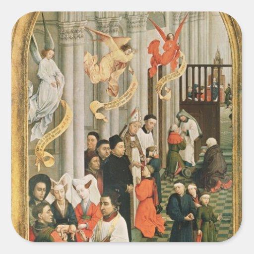 The Seven Sacraments Altarpiece Square Stickers