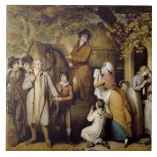 The Severe Steward, or Unfortunate Tenant (oil on Tile
