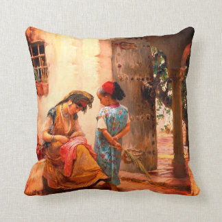 The Sewing Lesson Throw Pillow