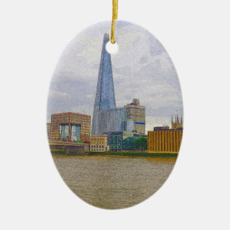 The Shard, Thames River, London, England Ceramic Oval Decoration