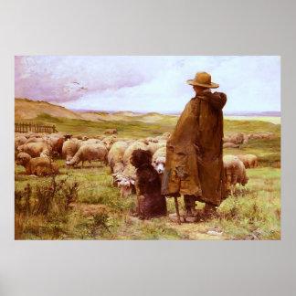 The Shepherd Julien Dupré Fine Art Canvas Print