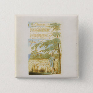 'The Shepherd', plate 15 from 'Songs of Innocence' 15 Cm Square Badge