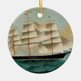 The Ship Fleetwing, Hong Kong Bay Christmas Ornament