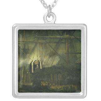 The Shipment of Napoleon's Ashes Aboard Square Pendant Necklace