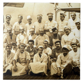 The ship's cooks aboard the R.M.S. Teutonic (b/w p Large Square Tile