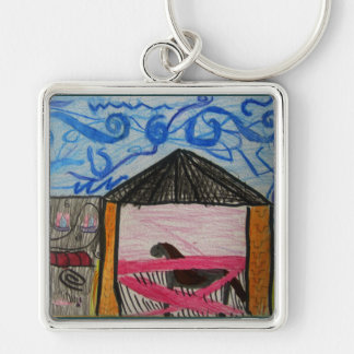 The Show Horse Silver-Colored Square Key Ring
