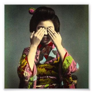 The Shy Geisha Vintage Old Japan Hand Colored Photo Print