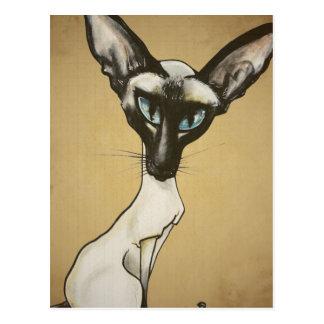 The Siamese Cat Caricature Post Card