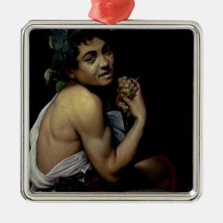 The Sick Bacchus, 1591 Silver-Colored Square Decoration