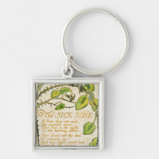The Sick Rose, from Songs of Innocence Silver-Colored Square Key Ring