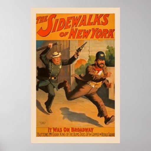 The Sidewalks of New York Broadway Vintage Poster
