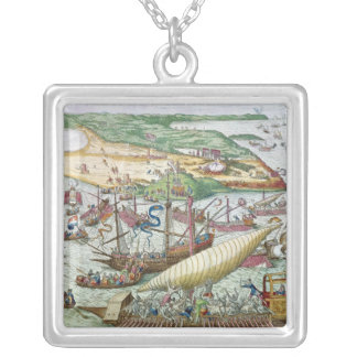 The Siege of Tunis or La Goulette by Charles V Silver Plated Necklace