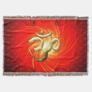 The sign om in gold throw blanket