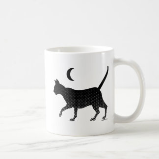 The silhouette of a cat under the moon basic white mug
