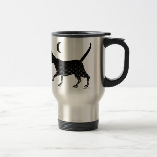 The silhouette of a cat under the moon stainless steel travel mug