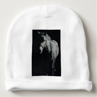 The Silver Horse in the shadows Baby Beanie