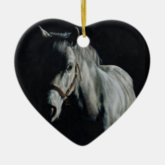 The Silver Horse in the shadows Ceramic Heart Decoration