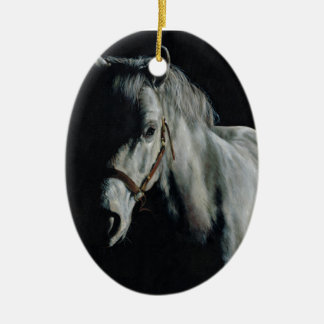The Silver Horse in the shadows Ceramic Oval Decoration