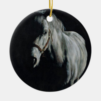 The Silver Horse in the shadows Round Ceramic Decoration